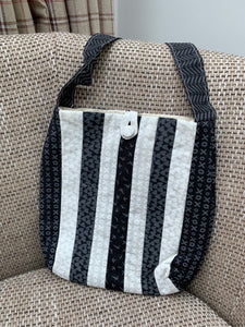"Ready Made - Black and White shoulder bag finished sample 9"" x 9"""
