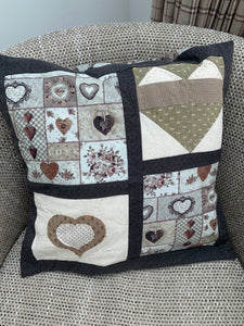 Ready Made - Handmade Patchwork Hearts Cushion
