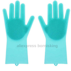 2 in 1 Silicone Rubber Dish Washing Gloves