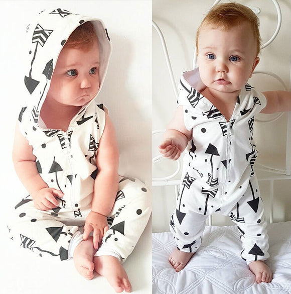 Infant Baby Boy Kid Clothing Hooded Sleeveless Romper Arrow Cute Zipper Jumpsuit Outfits Baby Boys Clothes