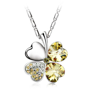 Heart Chains Silver Crystal Clover Charm Pendants Fine Jewelry Statement Necklaces For Women Best Friend Black Friday