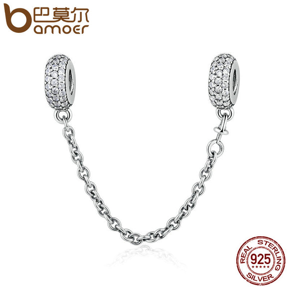 925 Sterling Silver Pave Inspiration Safety Chain, Clear CZ Stopper Charms fit  Charm Bracelet