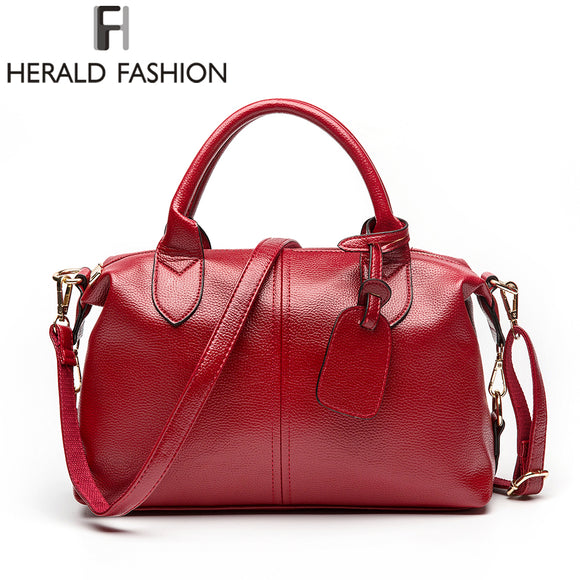 Herald Fashion Solid Women Pillow Handbag Soft PU Leather Women Top-Handle Bag Tote Shoulder Bag Large Capacity - Awesome Amazing Deals For You