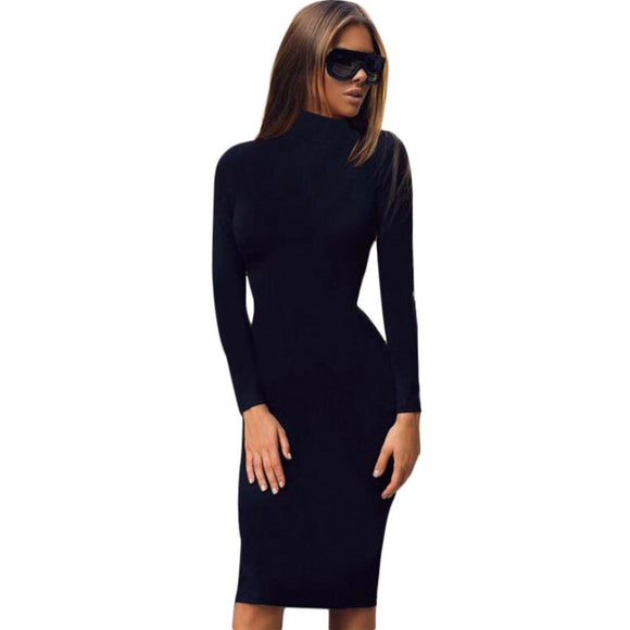 Fashion Women Dress 2016 Autumn Winter Turtleneck Sexy Black green Wine Rred Fall Bodycon Long Sleeve Evening Party Dress - Awesome Amazing Deals For You