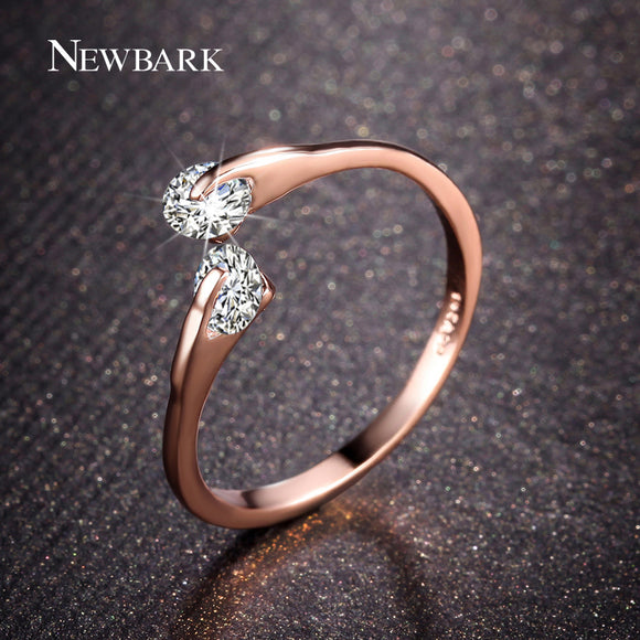 0.25ct Open Ring Double Round CZ Crystal Stone  Rose Gold & Silver Color Ring