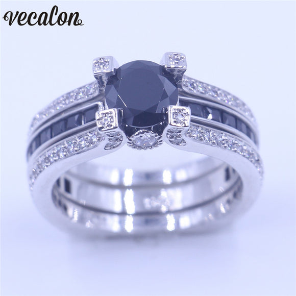 Vecalon 10 colors couple Anniversary ring 5A zircon Cz White Gold Filled wedding Band ring Set for women men Birthstone Jewelry - Awesome Amazing Deals For You