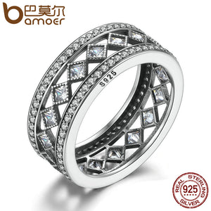 Sterling Silver Square Vintage Fascination, Clear CZ Big Ring For Women Luxury Fashion Jewelry