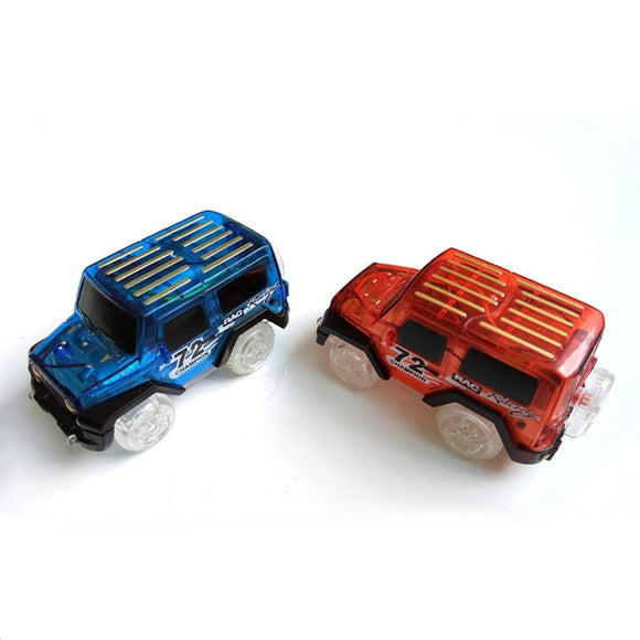 LED light up Cars for Magic Tracks Electronics Car Toys With Flashing Lights Fancy DIY Toy cars For Kid Magic Tracks parts Car