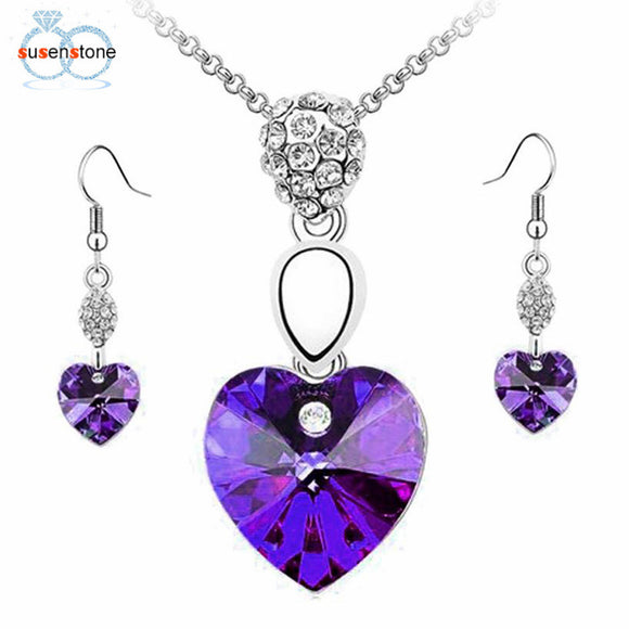 SUSENSTONE Girl Women Rhinestone Crystal Necklace Earring Jewelry Set - Awesome Amazing Deals For You