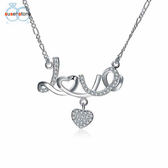 SUSENSTONE Fashion Women Crystal Love Heart Pendant Necklace Jewelry - Awesome Amazing Deals For You