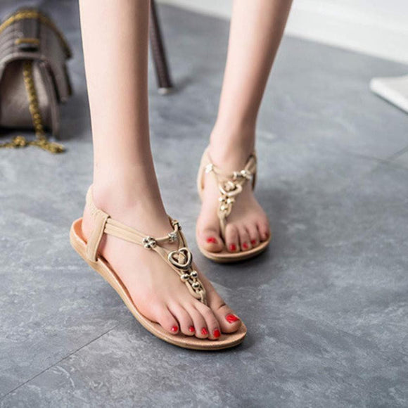 Fashion Women Summer Bohemia Sweet Beaded Sandals Clip Toe Sandals Beach Shoes Casual Women's Shoes zapatos mujer #25