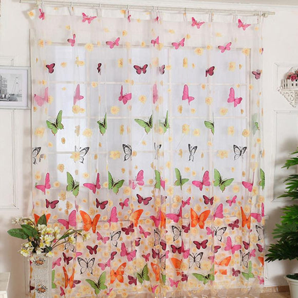 Super Deal Hot!Butterfly Print Sheer Window Panel Curtains Room Divider New For Living Room Bedroom Girl 200X100CM XT - Awesome Amazing Deals For You