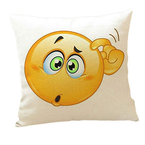 Cute QQ Expression Square Pattern smiley face pillow emoji pillowcase - Awesome Amazing Deals For You
