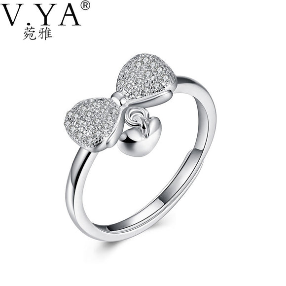 925 Sterling Silver Ring BowKnot Heart Charm Rings For Women