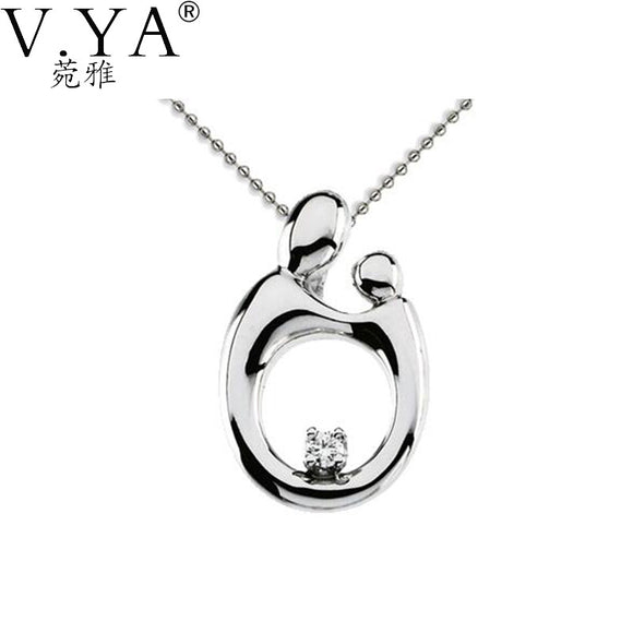 Sterling Silver Mother and Child Hand in hand 925 Silver Pendant Gift