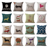 "Square 18"" Cotton Linen Cute Dachshund Dogs Office Chair Back Waist Cushion Cover Fashion Couch Seat Pillow Case N0118 - Awesome Amazing Deals For You"