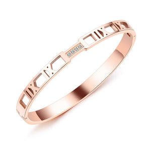 Gagafeel Stainless Steel Bangle Roman Numerals Rose Gold Color Hollow Bracelet For Woman Lady Crystal Jewelry Wholesale