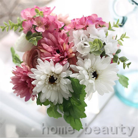 1 Bouquet Vivid Gerbera Fake Leaf Colorful Artificial Silk Flowers Bridal Decor Fall Wedding Home Party Decoration FH304 - Awesome Amazing Deals For You