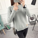 OHCLOTHING Short all-match winter sweater knitted shirt with long sleeves loose women sweater pullover