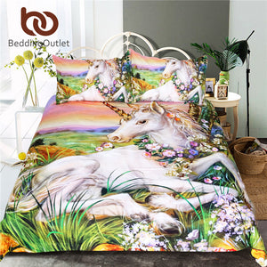 Unicorn Bedding Set Queen Size Watercolor Print Bed Set Kids Girl Flower Duvet Cover Colored Dreamlike