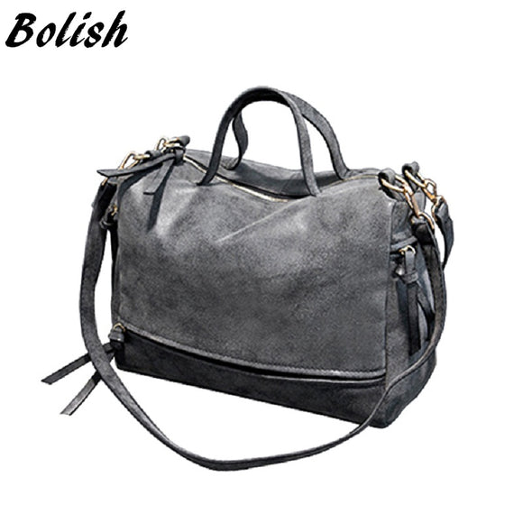 Bolish Brand Fashion Female Shoulder Bag Nubuck Leather women handbag Vintage Messenger Bag Motorcycle Crossbody Bags Women Bag - Awesome Amazing Deals For You