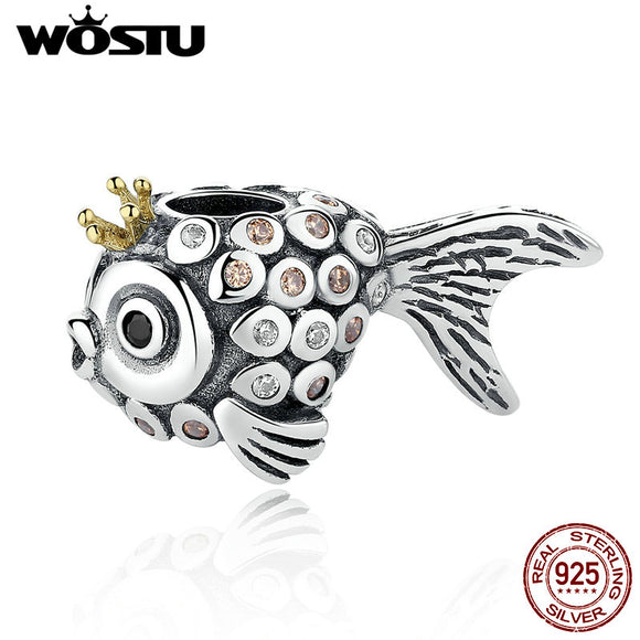 Sterling Silver Delicate Goldfish Charm Beads