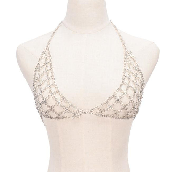 Flower Retro Fashion Silver Bra Body Necklace Chain Bikini Chain