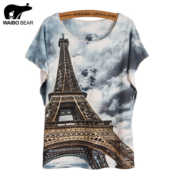 Eiffel Tower Print tshirts Women Tops T- Shirt Casual Patchwork Top Shirt Women