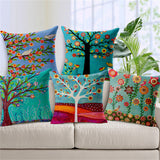 Painting trees Cushion Cover For Sofa Home Decor Almofadas Decorative Throw Pillows Case Colorful trees pillowcase in stock - Awesome Amazing Deals For You