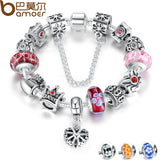 Silver Charms Bracelet & Bangles With Queen Crown Beads Bracelet