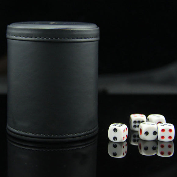 PU Leather Dice Cup with 5 Dices