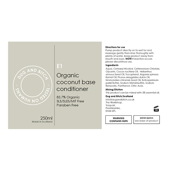 E1 - Organic Coconut Base Conditioner.