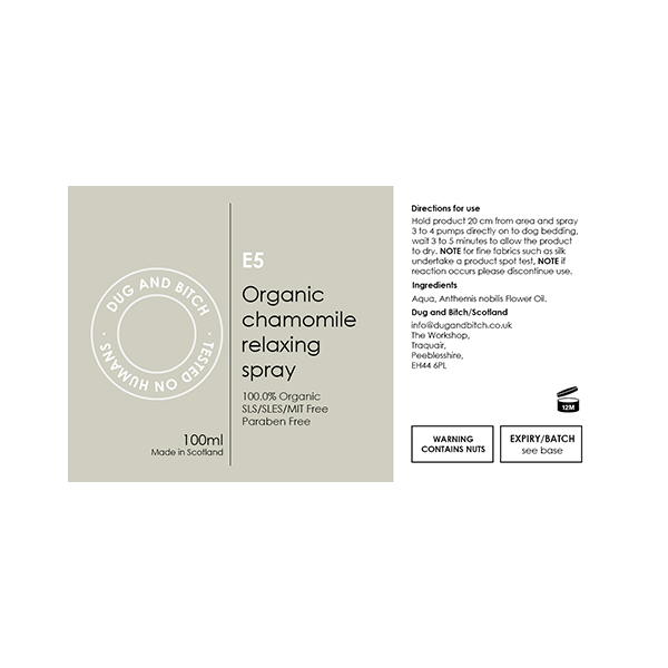 E5 - Organic chamomile relaxing spray. (6 x Trade Pack)