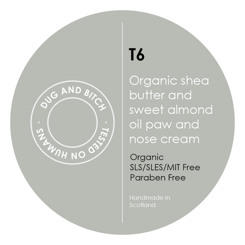 T6 - Organic shea butter and sweet almond oil paw and nose cream.