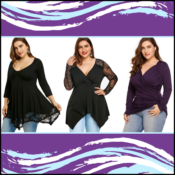 Women's Fashion Designer Long-Sleeve Tops (Plus Size)
