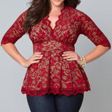 New Fashion Sexy Blouses Womens Clothing Big Casual Lady Lace Flower Shirts Hollow V-Neck Three Quarter Blouse Tops Women-Women's Tops Fashion Designer Plus Size T-Shirts / Blouses-[collection_title]-International Women's Clothing - Women's Fashion Designer Plus Size Clothes
