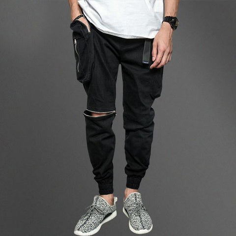 Black Open Knee Cargo Pants