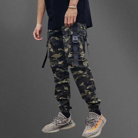 Spliced Camouflage Cargo Pants