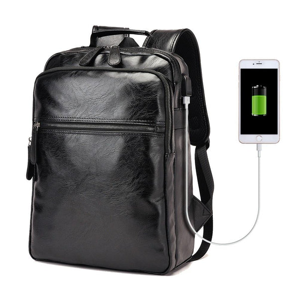 Retro Leather USB Backpack