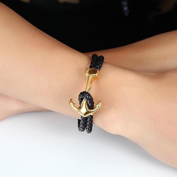 Gold Anchor Braided Bracelet