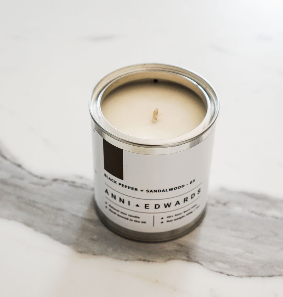 Black Pepper + Sandalwood - Paint Tin Candle