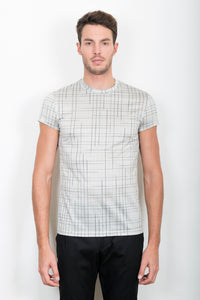 Sébastien Blondin haut top tee-shirt gris grey blanc white carreaux plaids sport sportswear chic été summer coton cotton maille knitwear créateur designer nouveau new basique basic mode fashion homme man men men's world