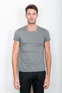 "TEE-SHIRT ""CARRÉ"" GRIS CLAIR CHINÉ"