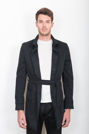 Sébastien Blondin trench coat veste jacket chic été summer coton cotton noir black créateur designer nouveau new basique basic mode fashion homme man men men's world