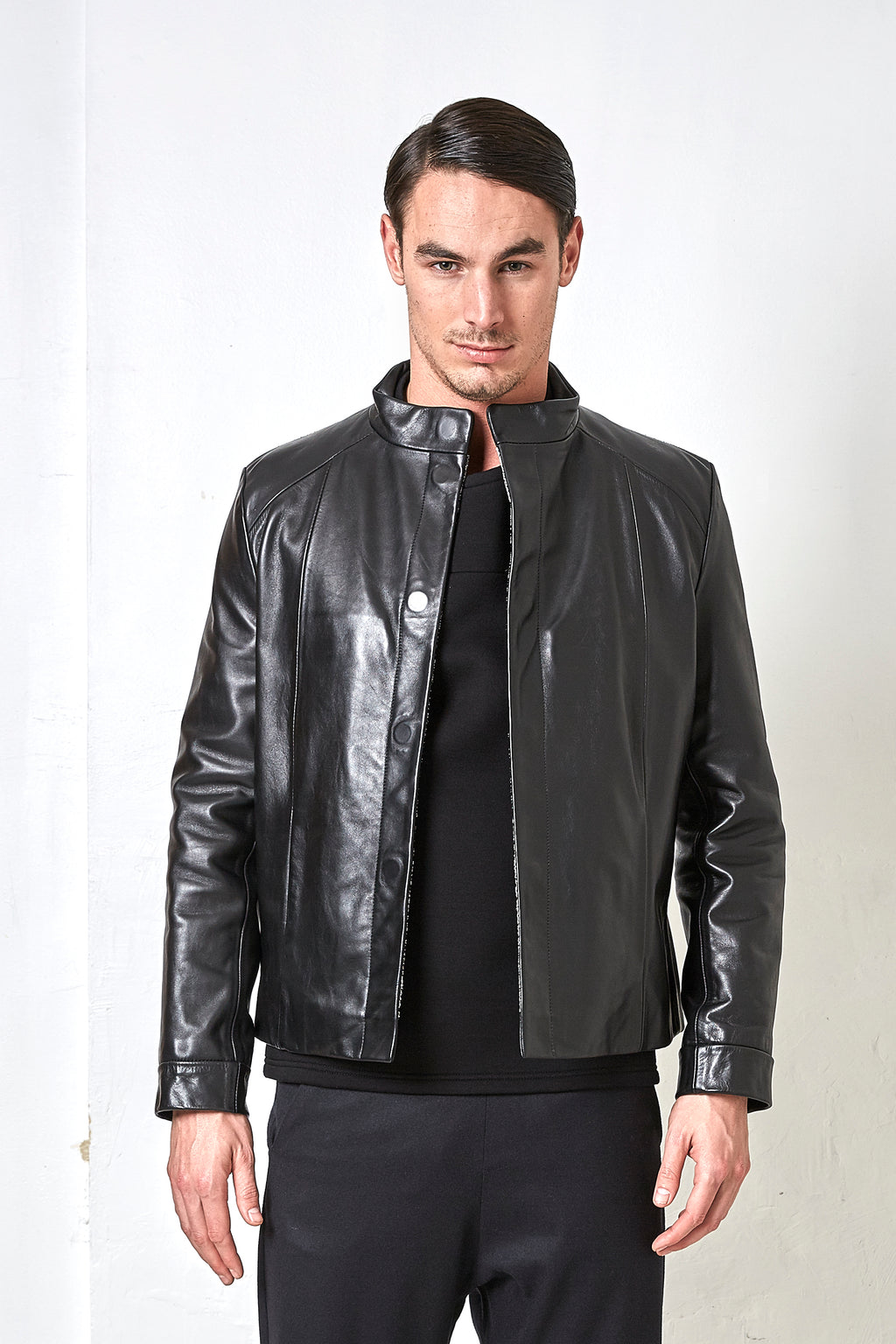 Sébastien Blondin veste jacket cuir leather chic été summer noir black créateur designer nouveau new basique basic mode fashion homme man men men's world