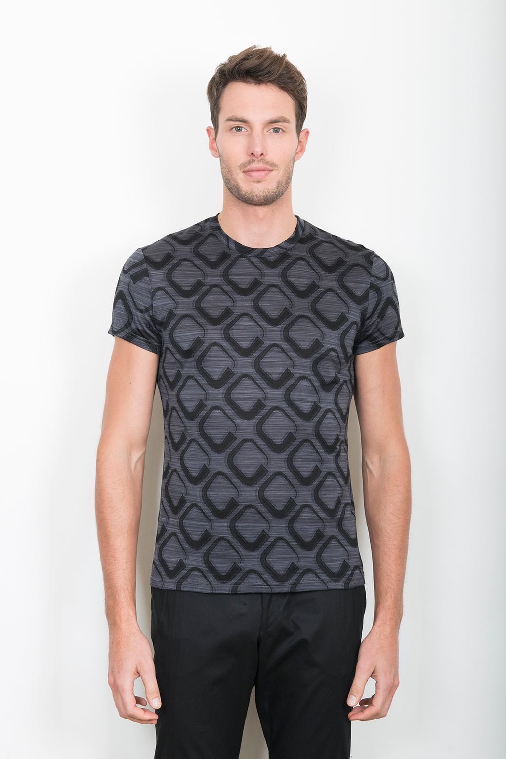 "TEE-SHIRT ""BASIC"" OPTICAL ART GRIS ET NOIR"