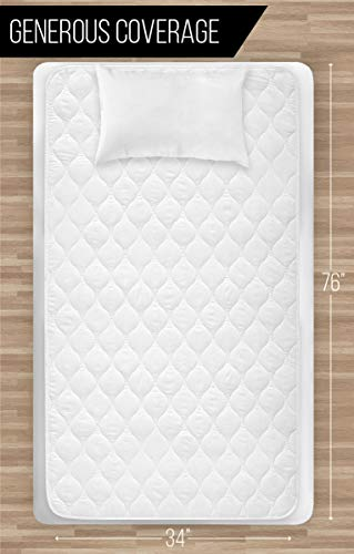 Gorilla Grip Cotton Slip-Resistant Mattress Pad Leak Proof 4-layer Pad - White - 52x34