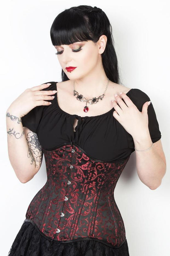 classic_red_brocde_longline_waist_training_corsets_the_corset_lady