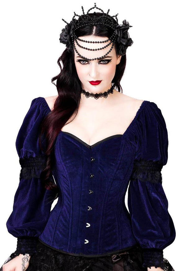 Overbust corset with velvet lace