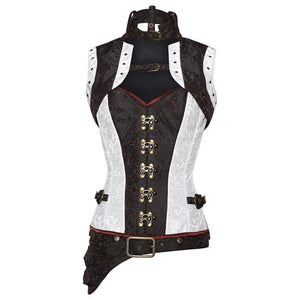 Ivory and Brown Steampunk Corset - TheCorsetLady